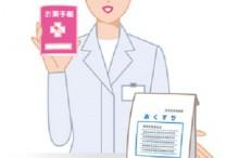 薬とお薬手帳を渡す薬剤師