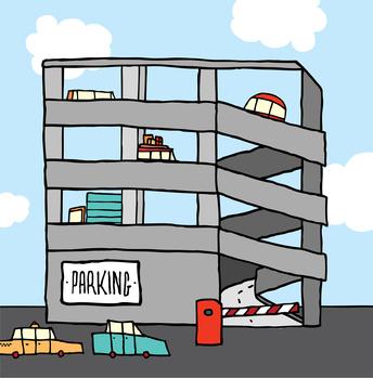 Cartoon multi-level parking garage