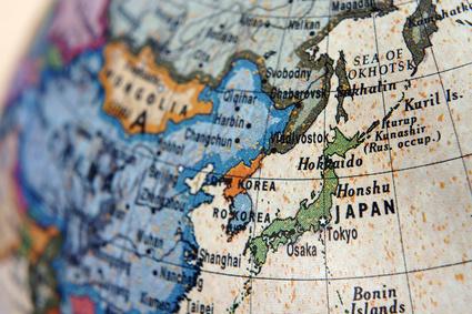 地球儀 日本と中国