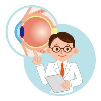 眼球の説明をする医師