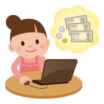 インターネットでお小遣いを稼ぐ女性