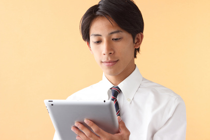 A businessman with touchpad