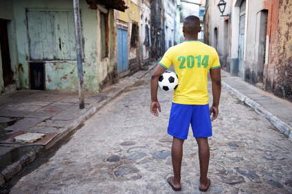 Brazilian Football Player in 2014 Shirt Favela Street Brazil