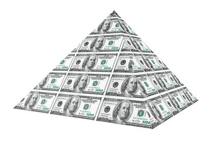 Financial concept. Abstract money pyramid