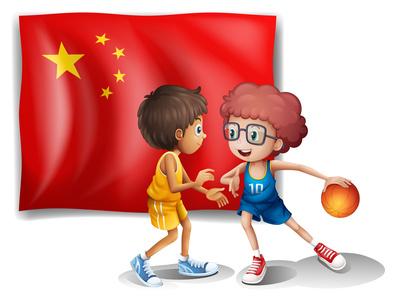 バスケをする2人の中国人
