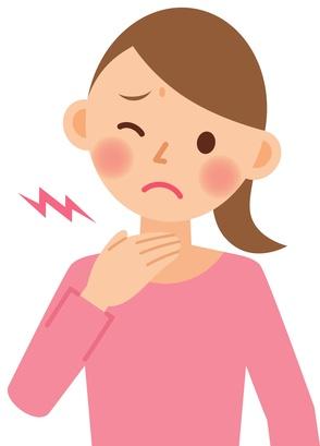 喉に違和感のある女性