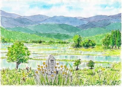 里山の初夏を描いた絵