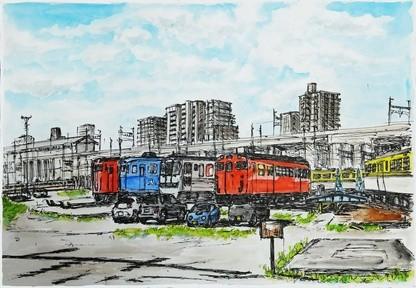 駅構内を描いた水彩画