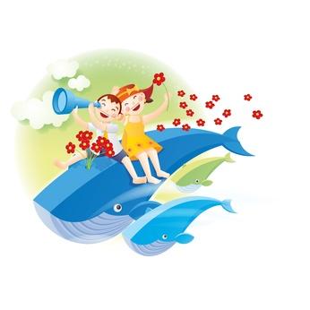 夢jの中でクジラに乗る子供たち
