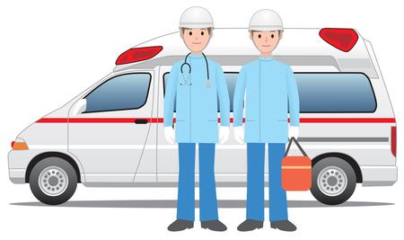 救急車と消防隊員