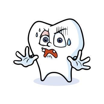抜歯におびえる歯のキャラクター