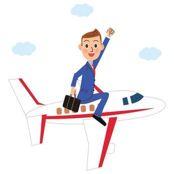 飛行機に乗って海外に出発する男性