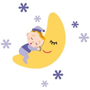 月と一緒に寝ている赤ちゃん