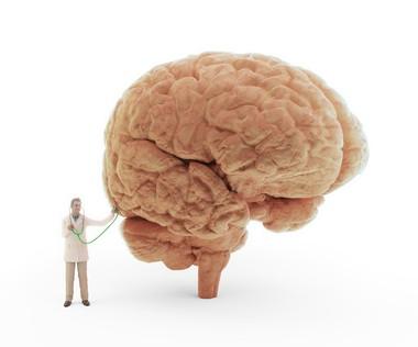 脳に聴診器を当てるお医者さん