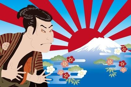 東洲斎写楽 大谷鬼次と富士山のイメージイラス
