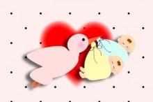 コウノトリが赤ちゃんを運ぶ