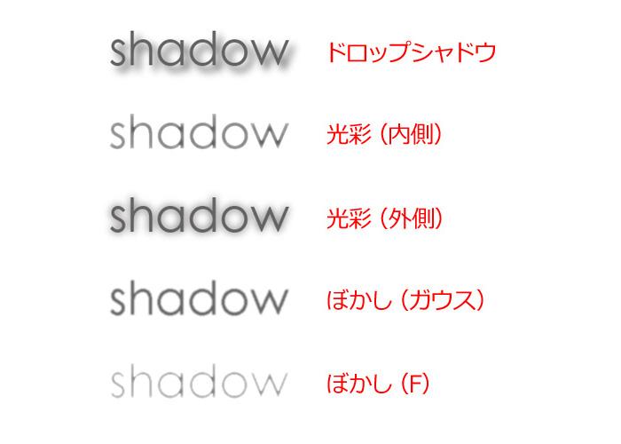 いろいろな文字につけた影