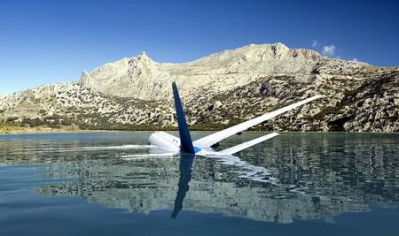 水中に不時着した飛行機